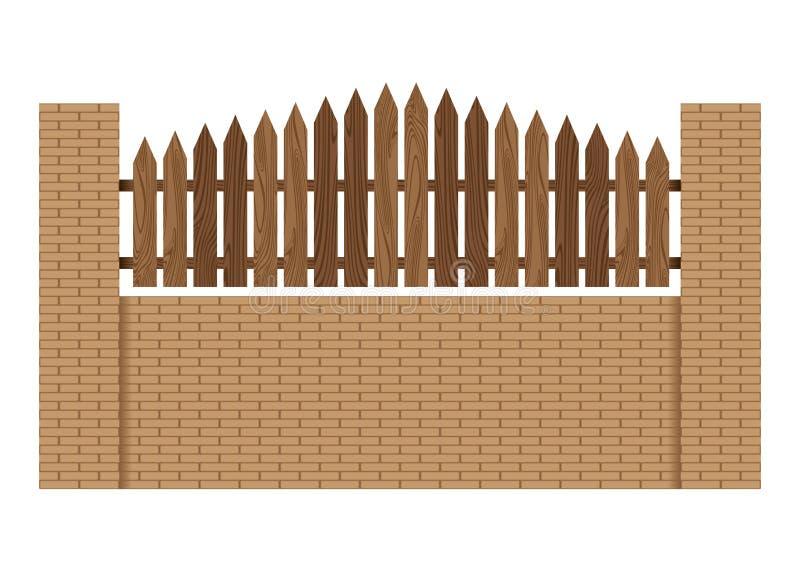 Zaun hergestellt vom hölzernen Steinziegelstein lokalisiert auf weißem Hintergrund stock abbildung