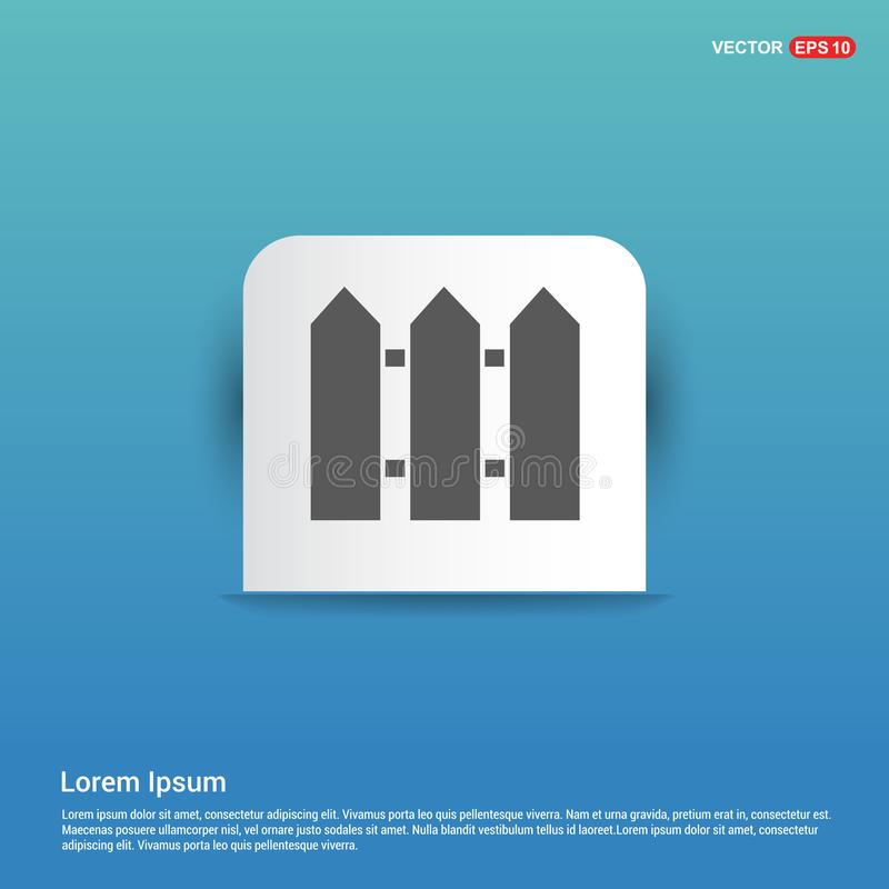 Zaun Icon - blauer Aufkleberknopf lizenzfreie abbildung