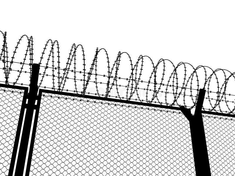 Zaun mit einem Stacheldraht vektor abbildung