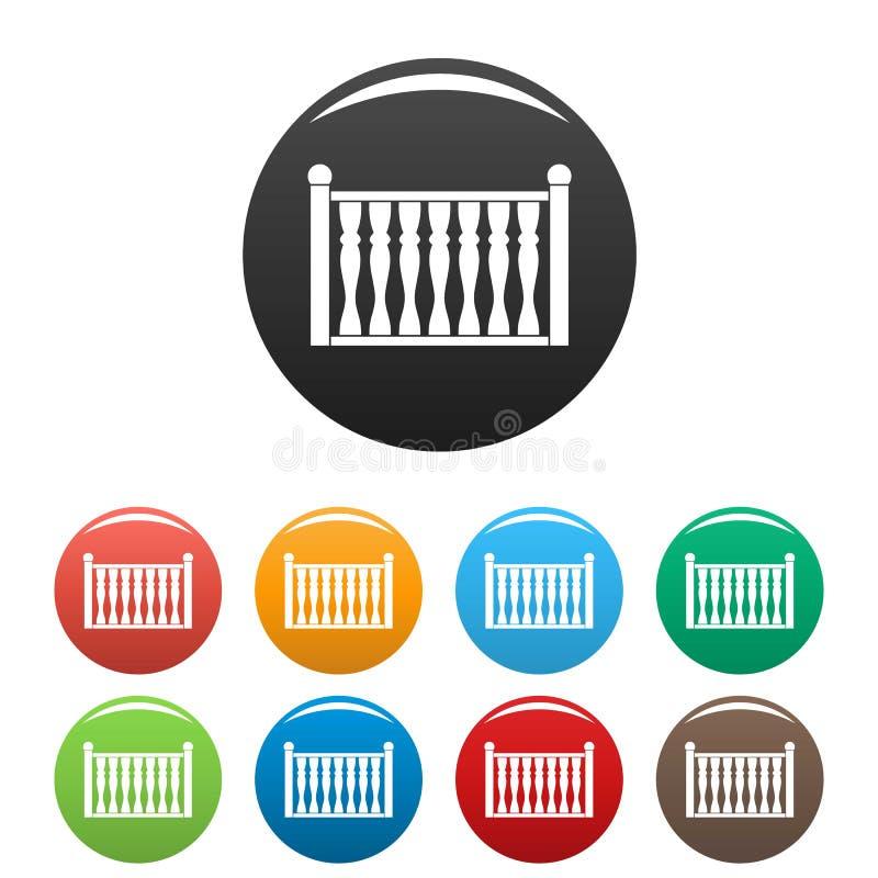Zaun mit eingestellter Farbe der Spalte Ikonen stock abbildung
