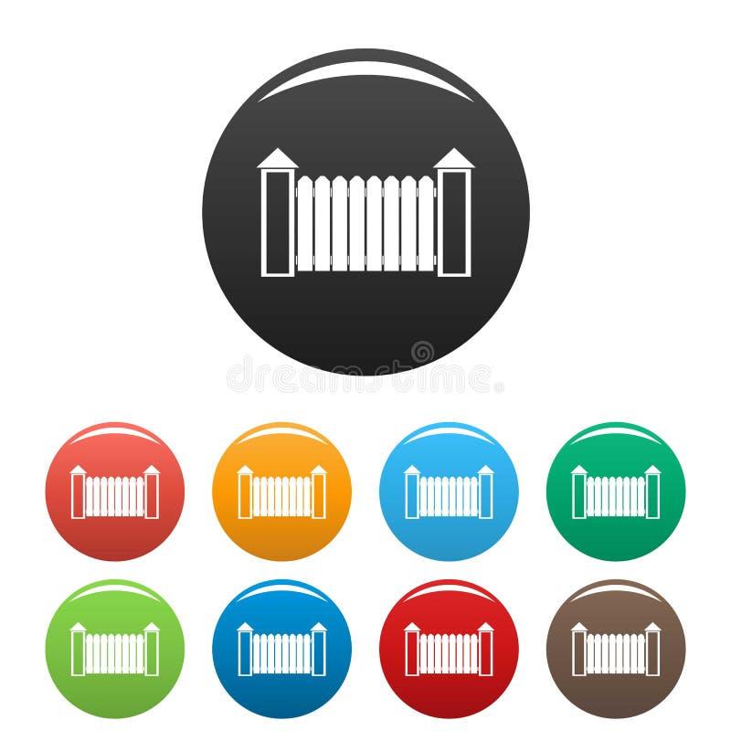 Zaun mit eingestellter Farbe des Drehkopfes Ikonen vektor abbildung