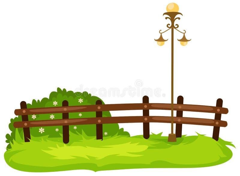 Zaun mit Lampe lizenzfreie abbildung