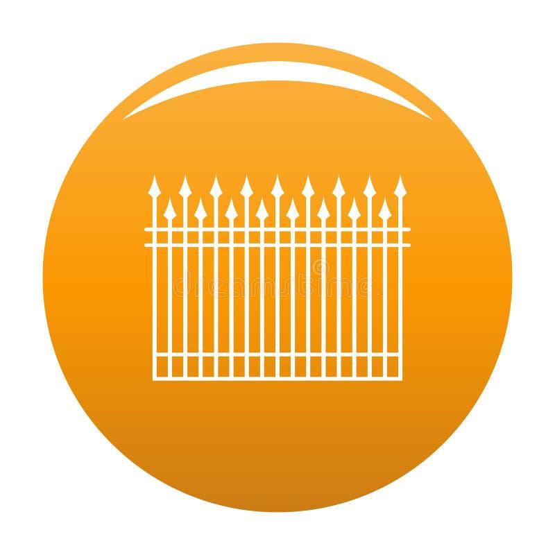 Zaun mit Metallstangen-Ikonenorange stock abbildung