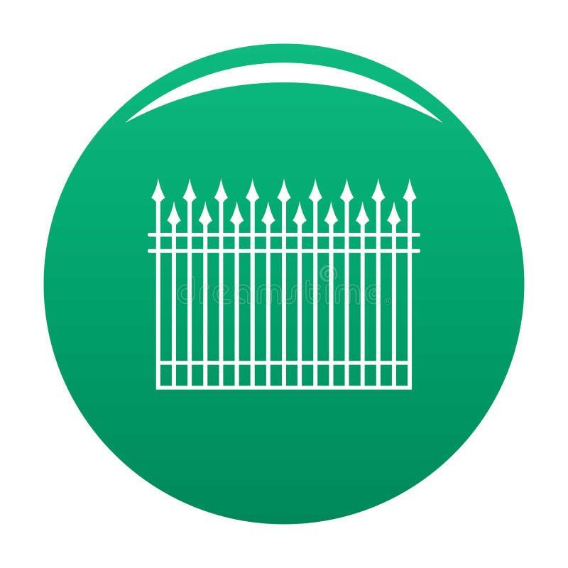 Zaun mit Metallstangen-Ikonenvektorgrün lizenzfreie abbildung