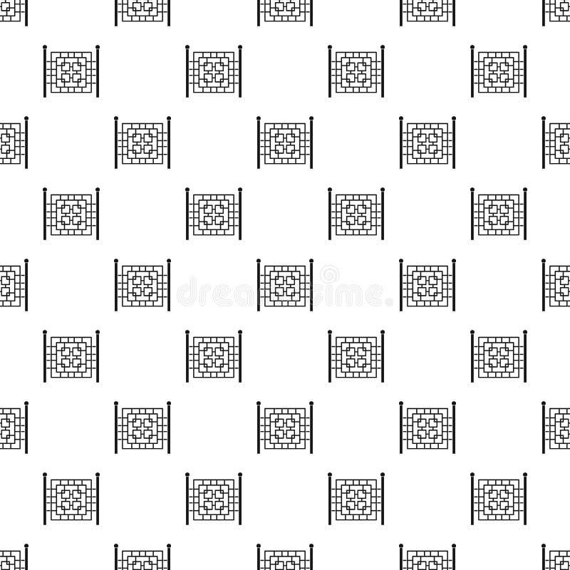 Zaun mit nahtlosem Vektor des Metallquadrat-Musters vektor abbildung