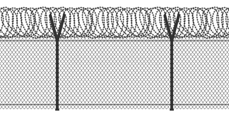 Zaun mit Stacheldraht lizenzfreie abbildung