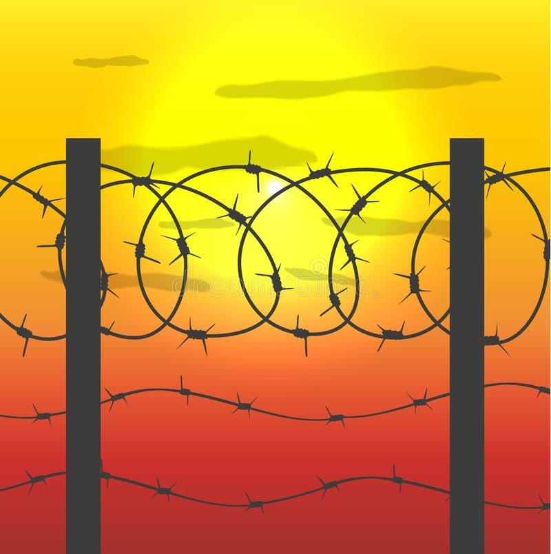 Zaun mit Stacheldraht stock abbildung