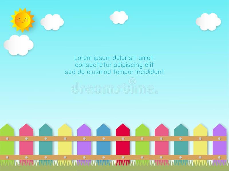 Zaun mit Wolken und Sonne Hintergrund-Schablone für Werbungsbroschüre, Ihren Text, Papierkunst und Handwerksart, Vektor Illustrat stock abbildung