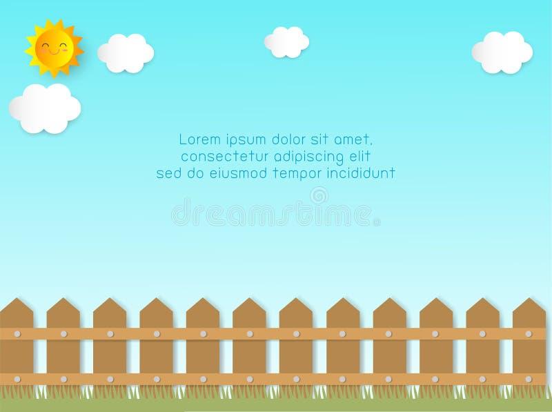 Zaun mit Wolken und Sonne Hintergrund-Schablone f?r Werbungsbrosch?re, Ihren Text, Papierkunst und Handwerksart, Vektor Illustrat vektor abbildung