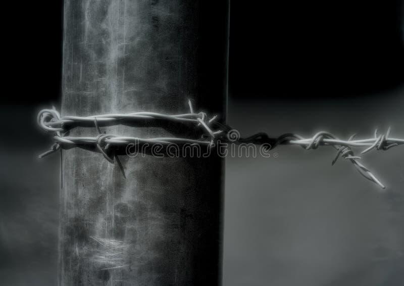 Zaun-Post With Barbed-Draht stockbild