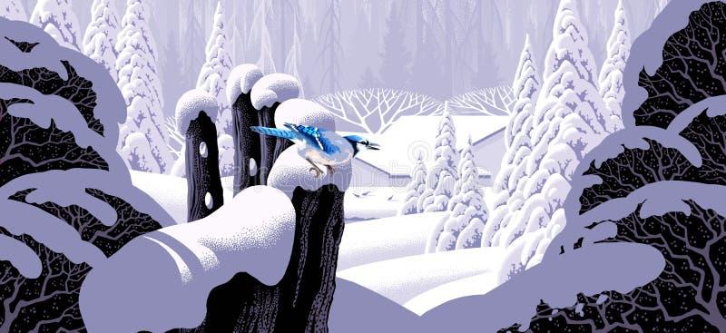 Zaun und blauer Jay lizenzfreie abbildung