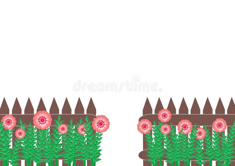 Zaun-und Blumen-Grenze stock abbildung