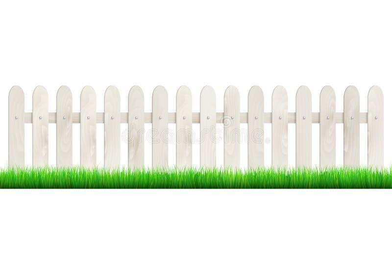 Zaun vom hellen Holz und vom Gras - lokalisiert auf weißem Hintergrund stock abbildung