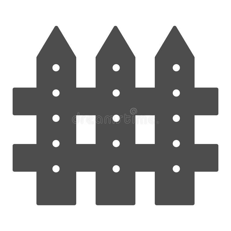 Zaunk?rperikone Sperrenvektorillustration lokalisiert auf Wei? Planke Glyph-Artentwurf, bestimmt f?r Netz und App ENV lizenzfreie abbildung