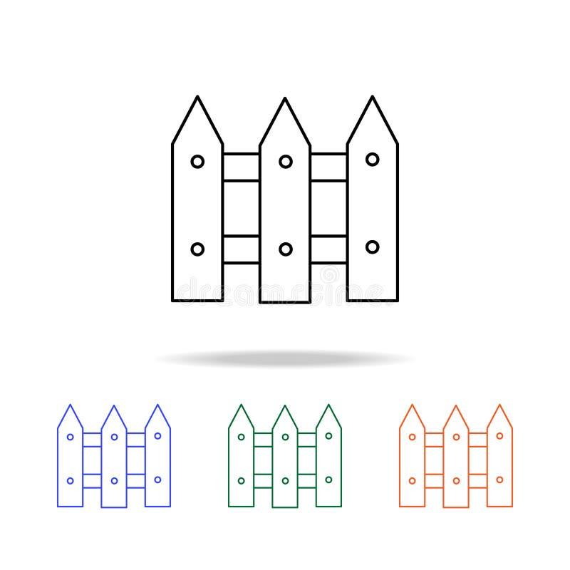 Zaunlinie Ikone Elemente von Immobilien in den multi farbigen Ikonen Erstklassige Qualitätsgrafikdesignikone Einfache Ikone für W lizenzfreie abbildung