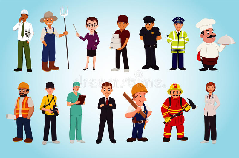 Zawód i charakter - set zdjęcie stock