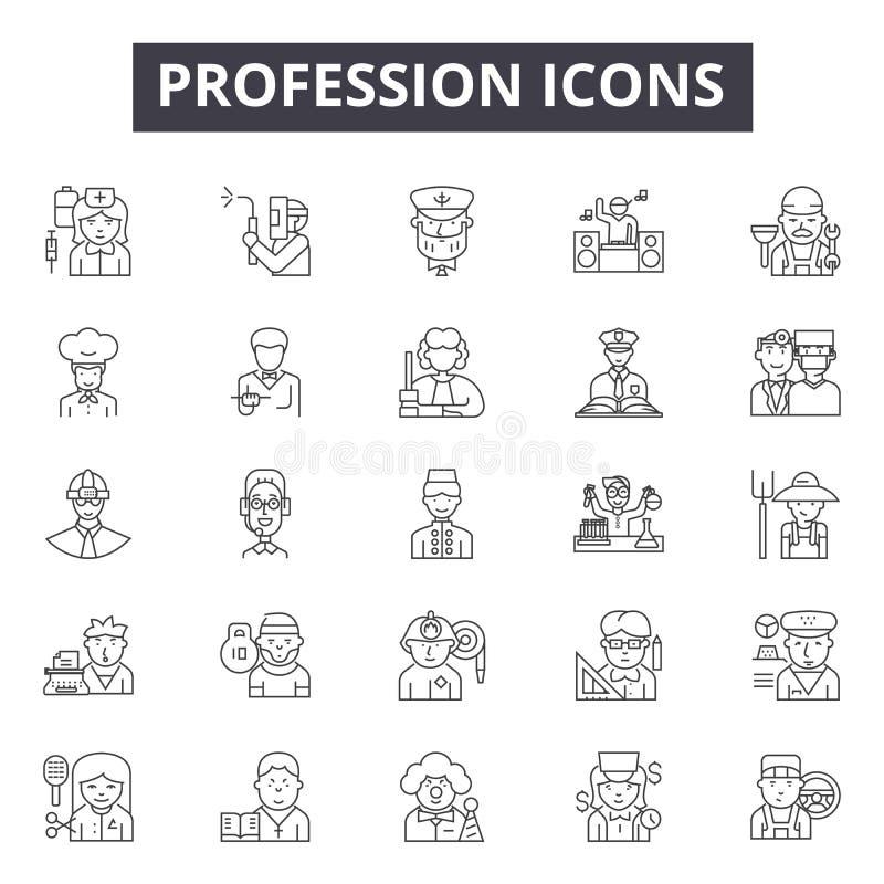 Zawód kreskowe ikony, znaki, wektoru set, kontur ilustracji pojęcie ilustracji