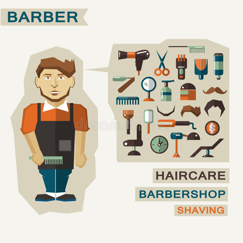 Zawód ludzie Mieszkanie infographic barber ilustracji