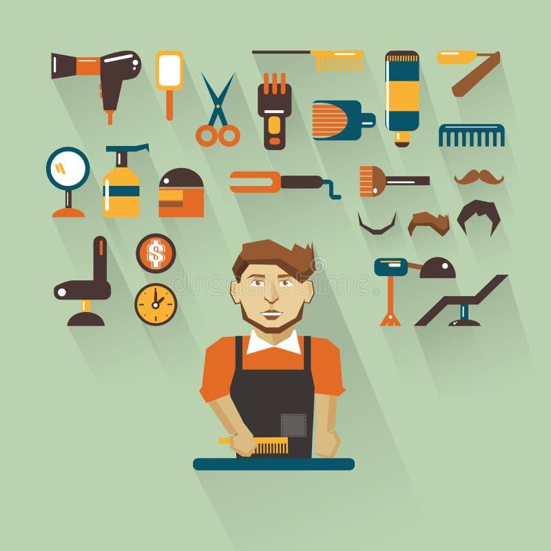 Zawód ludzie Mieszkanie infographic barber royalty ilustracja