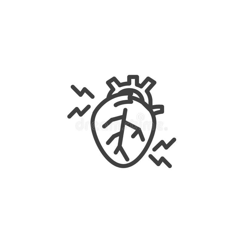 Zawał serca kreskowa ikona royalty ilustracja
