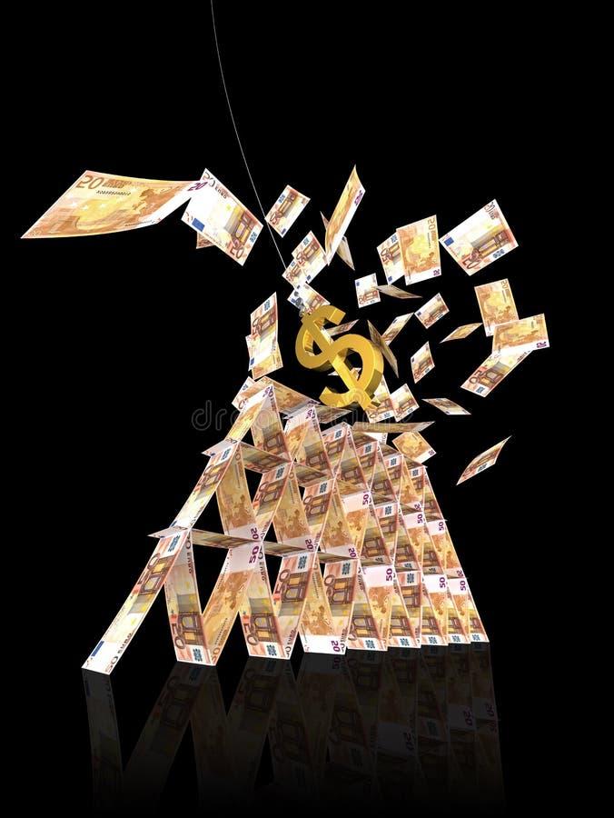 Zawalenia się dolarowy euro strajka wierza