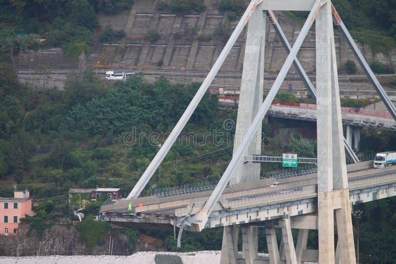 Zawalenie się Morandi most w genui zdjęcia royalty free