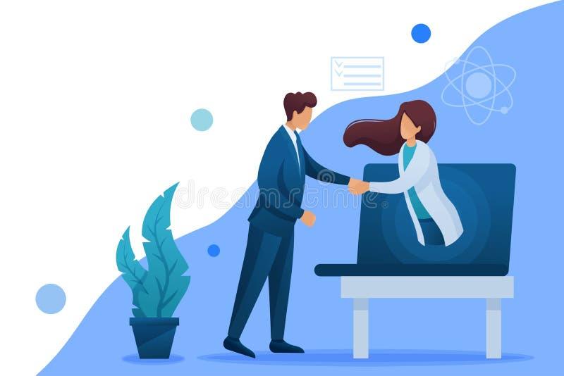 Zawarcie umowy dotyczącej konsultacji internetowych lekarza Płaski znak 2D Koncepcja projektowania sieci Web ilustracja wektor