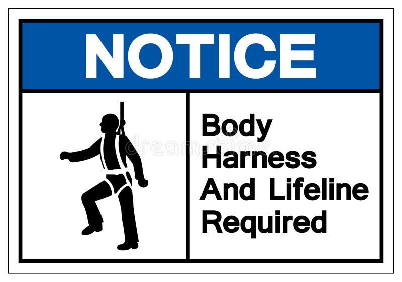 Zawiadomienia ciała nicielnica I lina ratownicza Wymagający symbolu znak, Wektorowa ilustracja, Odizolowywamy Na Białej tło e ilustracji