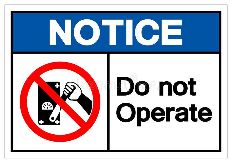 Zawiadomienie no Dzia?a symbolu znaka, Wektorowa ilustracja, Odizolowywaj?ca Na Bia?ej t?o etykietce EPS10 ilustracji