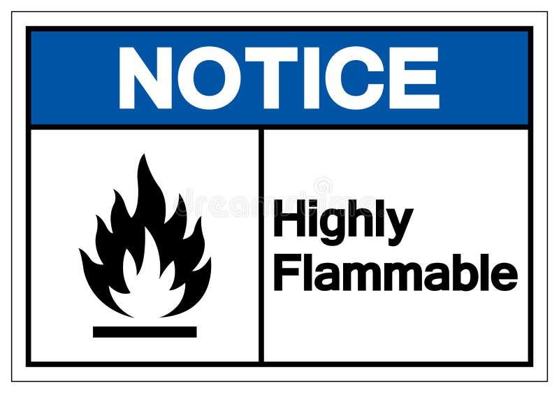 Zawiadomienie symbolu Wysoce Flammable znak, Wektorowa ilustracja, Odizolowywa Na Białej tło etykietce EPS10 ilustracji