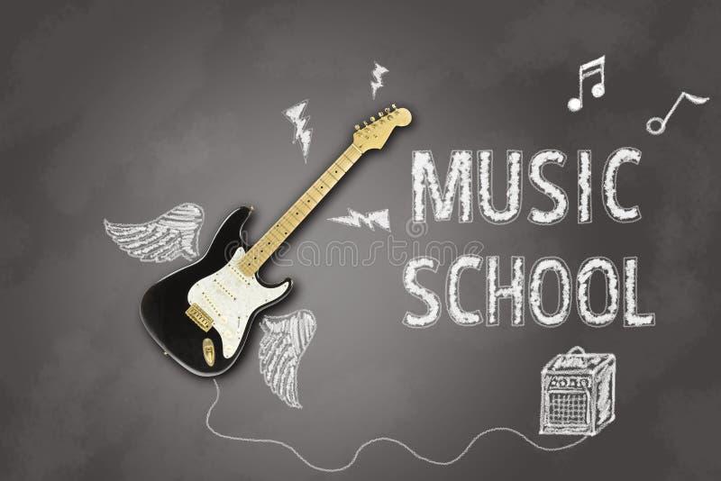 Zawiadomienie z gitarą elektryczną na blackboard dla lekcj a royalty ilustracja