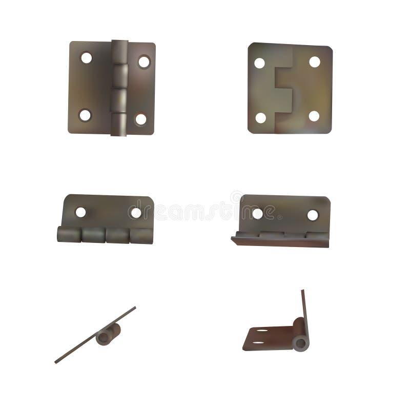 Zawias dla drzwi wektoru ilustraci Set mosiądz lub brązowy przemysłowy ironmongery ilustracja wektor