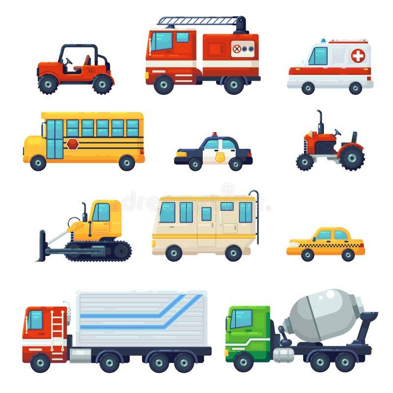 Zawiera tak jak Ciężki przemysłowy pojazdu samochód, ciągnik, milicyjny ambulansowy autobus szkolny, Pożarniczego boju samochód m ilustracji