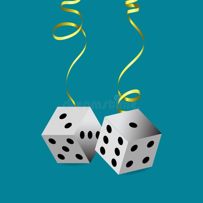 Zawieszający na złoto grzebaka wężowatych kostka do gry na błękitnym tle ilustracji