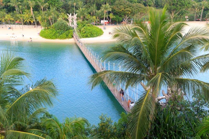 Zawieszenie most łączy Palawan plażę Południowy punkt Kontynentalny Azja, Sentosa wyspa fotografia stock