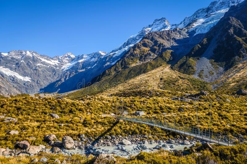 Zawieszenie most w dolinie, góra Cook, Nowa Zelandia fotografia stock