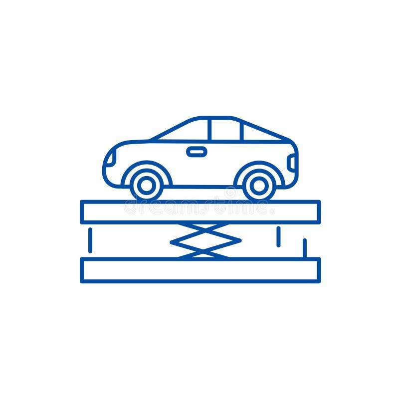 Zawieszenie, samochodowy usługowej linii ikony pojęcie Zawieszenie, samochodowy usługowego mieszkania wektorowy symbol, znak, kon ilustracja wektor