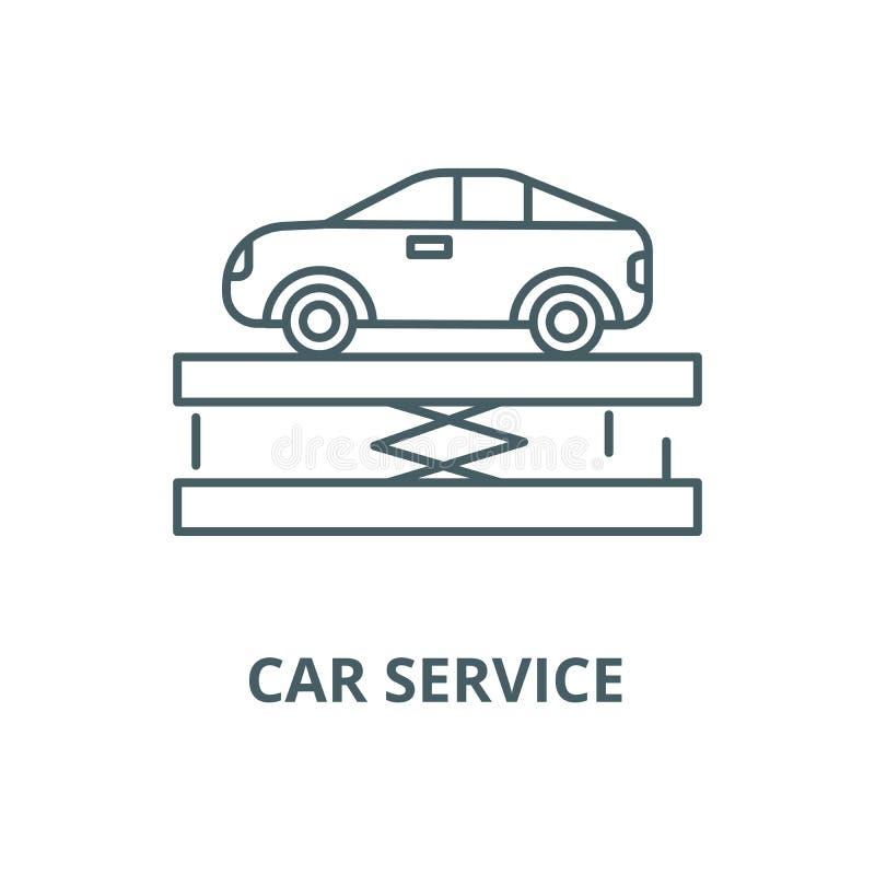 Zawieszenie, samochodu wektoru linii usługowa ikona, liniowy pojęcie, konturu znak, symbol ilustracja wektor