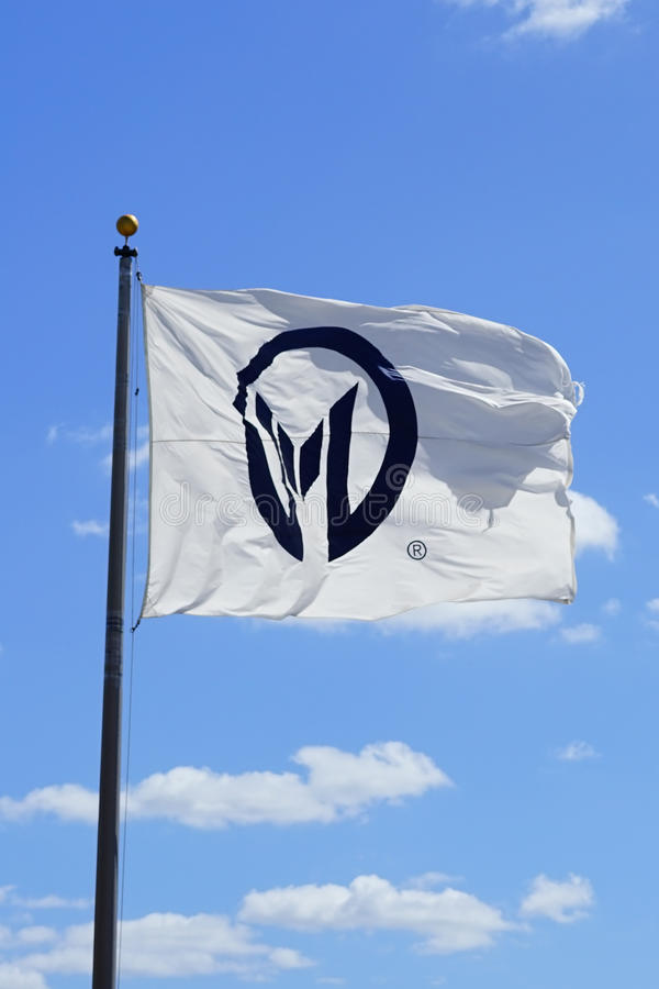 Zawietrzna moffitt nowotworu centrum flaga i chmura zdjęcie stock