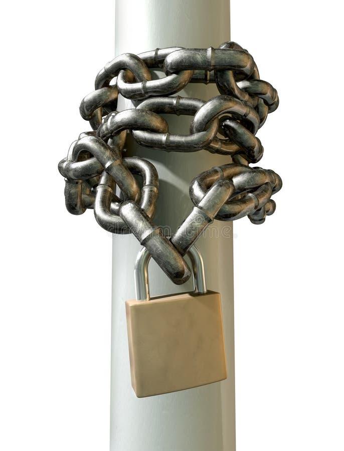 Zawijający łańcuchu I kłódki przód obraz royalty free