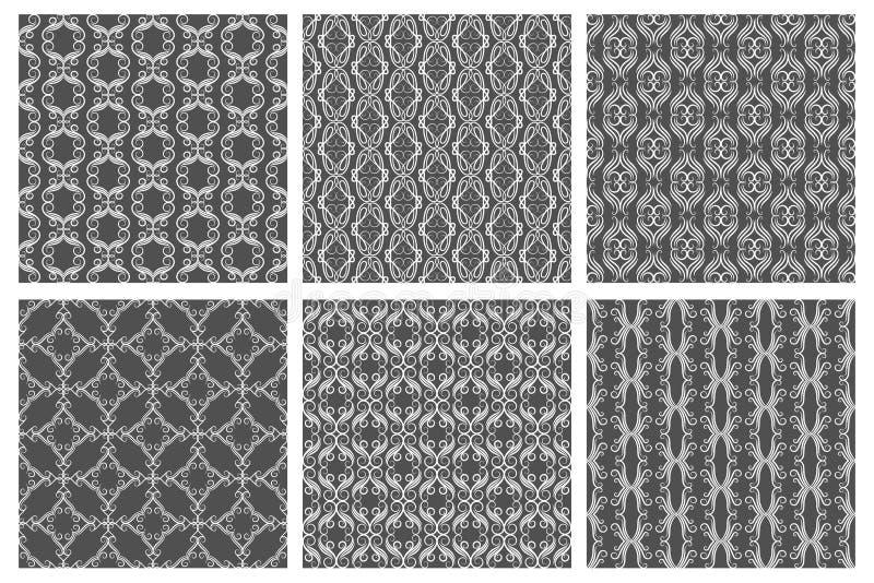 Zawijasów adamaszkowi bezszwowi wzory Wektorowa kwiecista tkanina royalty ilustracja