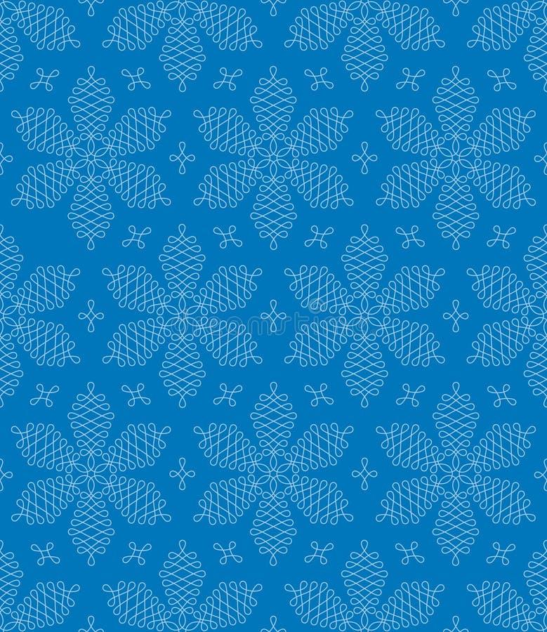 Zawijasów płatków śniegu Bezszwowy wzór royalty ilustracja