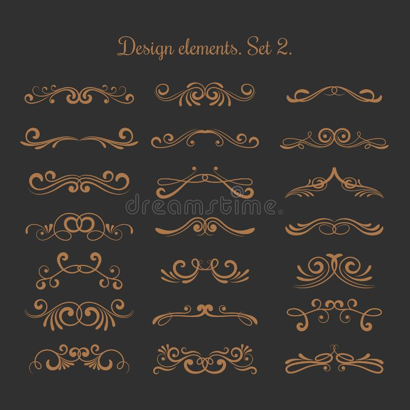 Zawijasów zdobienia Rozkwita filigree kaligraficznych eleganckich zawijasów elementy royalty ilustracja