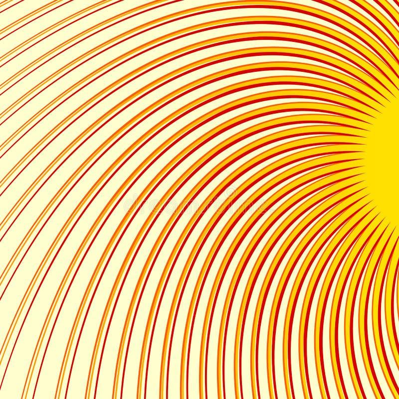 Zawijas, spirali tricolor tło Promieniowe cienkie wiruje linie ilustracja wektor