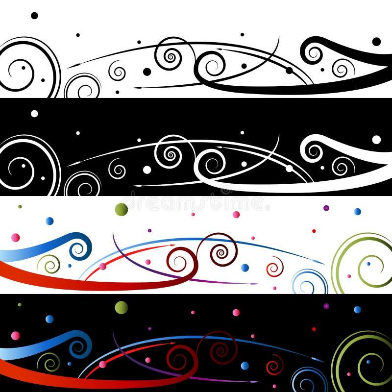 Zawijasa świętowania sztandaru set ilustracji