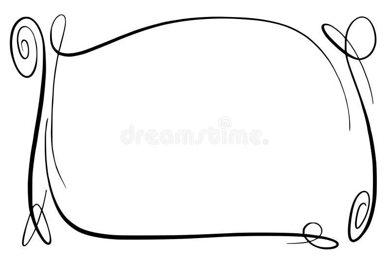 Zawijasa wektoru rama Prostokąt z squiggles, twirls i zdobieniami dla, wizerunku i tekstów elementów Ręka rysujący czerń ilustracja wektor