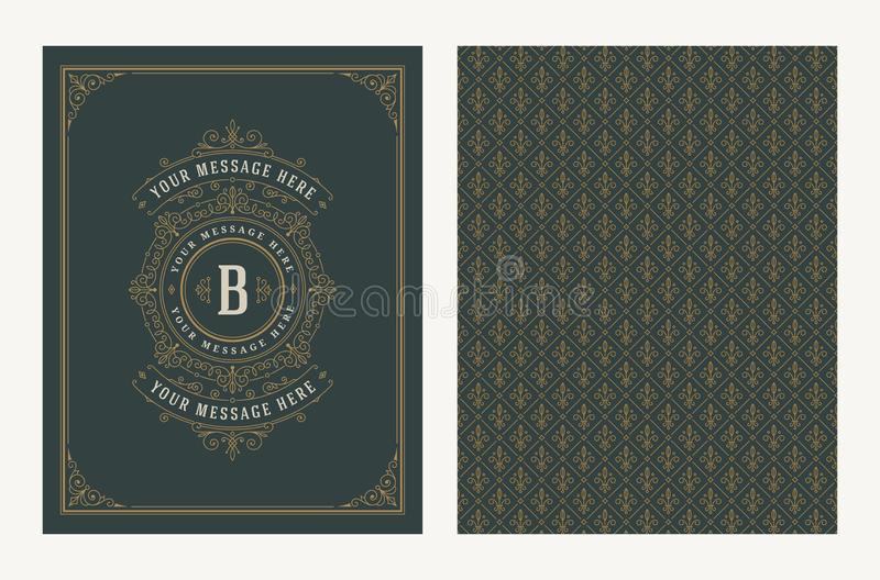 Zawijasy i ornamentacyjny wektorowy rocznika projekt dla kartki z pozdrowieniami lub ślubnego zaproszenia Retro strona projekt z  royalty ilustracja