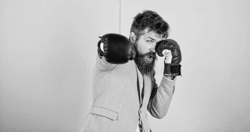 zawiniony sukces Brodaty m??czyzna w bokserskiej postawie Biznesmen w formalnej odzie?y i bokserskich r?kawiczkach Sport ulepsza  fotografia royalty free