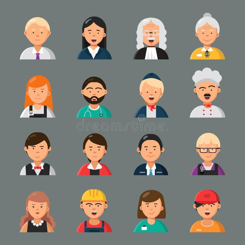 Zawodów avatars Biznesmena nauczyciela fryzjera kucharza zajęcia doktorscy pracownicy grupują kolegi wektoru portrety royalty ilustracja
