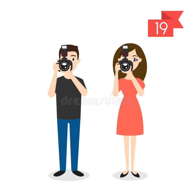 Zawodów charaktery: mężczyzna i kobieta fotograf royalty ilustracja